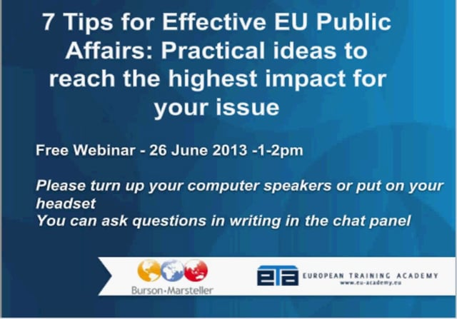 7 Tips for Effective EU Public Affairs: Practical ideas to reach the highest impact for your issue